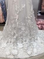 Blanc cassé brodé tulle dentelle 3D dentelle tissu avec rose fleurs, brodé dentelle tissu avec 3D fleurs de mariée En Dentelle Tissu,