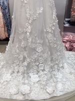 off white embroidered tulle lace 3D lace fabric with pink flowers, embroidered lace fabric with 3D flowers bridal Lace Fabric,