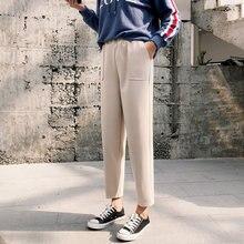 Корейские шерстяные женские брюки, зимние женские брюки длиной до щиколотки с высокой эластичной талией, повседневные свободные Базовые Женские брюки с двойным карманом