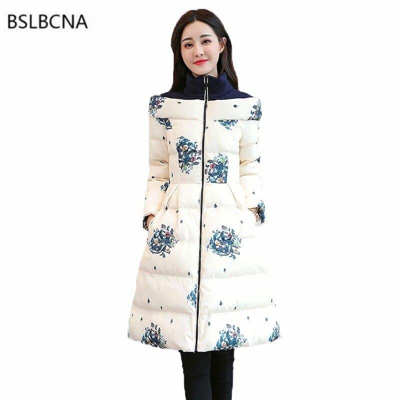 2018 Long Sleeve Down Cotton Woman Clothes Vintage Print Winter Coat Women Jacket Plus Size Parka
