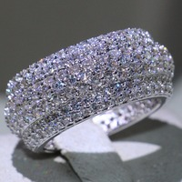 Виктория Марка оригинальные Роскошные ювелирные изделия стерлингового серебра 925 пробы проложить Micro ясно 5A кубического циркония обещание