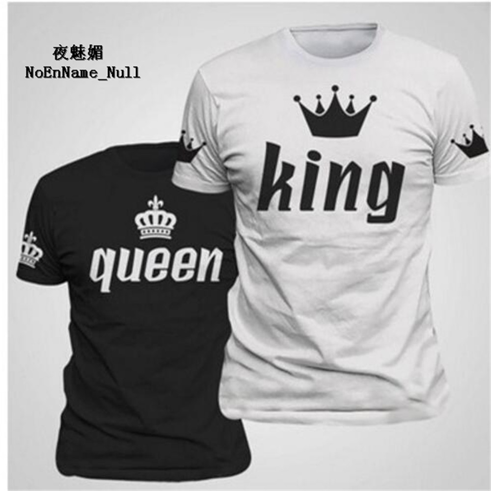 2017 New King Queen Lovers Tee T Shirt Imperial Crown Printing Couple Clothes lovers Tee Shirt Femme Summer Casual O-neck Tops