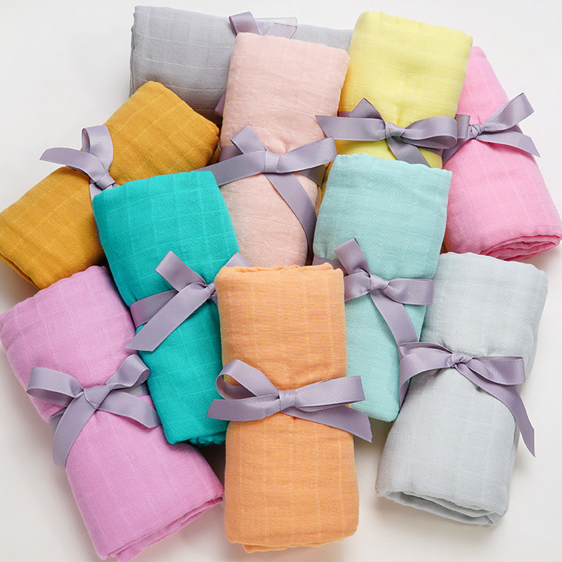 2019 New Style Pure Color Solid Baby Swaddle Wrap Soft Bamboo Cotton Infant Baby Muslin Blanket Newbron 10 More Colors