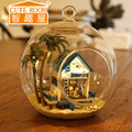 DIY Wooden Dollhouse Miniature 3D Mini Handmade Glass Ball Toy dolls For Children Toys dolls house