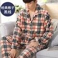 Hot Sale Men's Pajamas Set Warm Flannel Sleepwear Plaid Stripped Printing Men's Sleep Lounge Pajama Sets Homewear Nighties 266