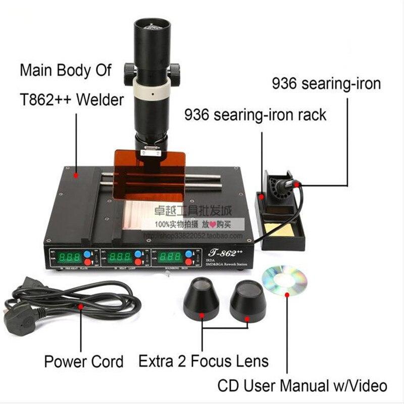 PUHUI T862 + + poste de reprise de chauffage infrarouge avancé SMT SMD IRDA BGA soudeur 800 W 120X120mm T-862 + +