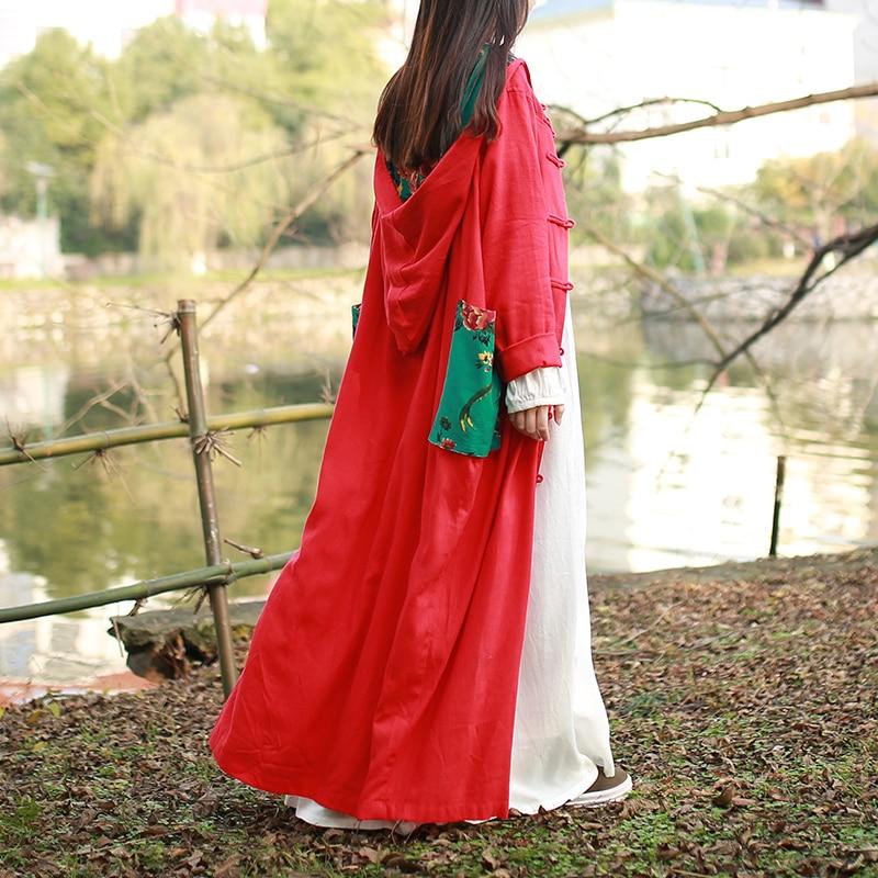 Robe Tranchée 2017 green Poches Style Femmes Pardessus red Capuche Printemps En Casaco Manteaux Nouveau Ethnique Lin Blue Deep Grandes Manteau Chinois Femme Coton YwrY7fq