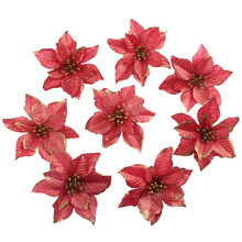 Ourwarm 50pcs Glitter Poinsettia Christmas Tree Ornaments Hanging Ornament Drop Pendants Christmas Tree Decorations for Home