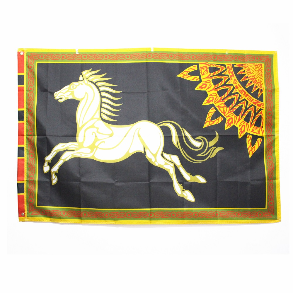 Black ROHAN Lord of the Rings Banner Horse Flag Large 96*144 54*89cm Halloween Decoration Christmas Gift Party Supplies Men Boys