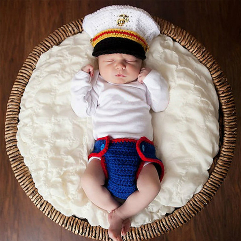 2019 New Style 2018 New Naval Army Police Wool Knitted Baby Photography Accessories Blue White Hand Hook Casquette Enfant Newborn Photo Props Non-Ironing