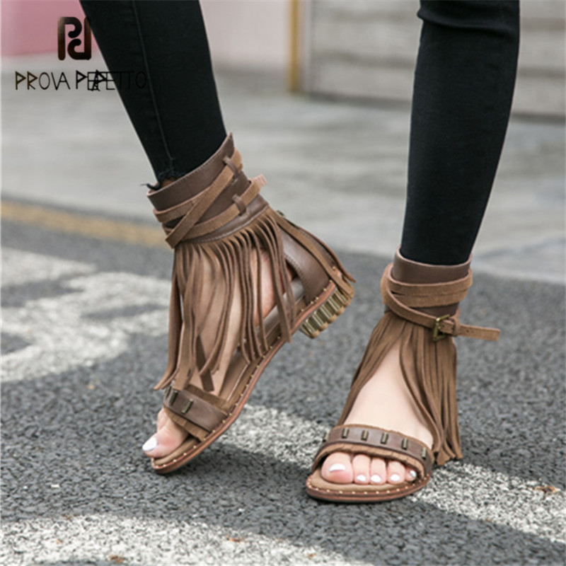Prova Perfetto Fringed Summer Women Gladiator Sandals Casual Flat Sandalias Mujer Tassels Strap Sandal Ladies Beach Shoes Flats handmade rome gladiator sandals women flats fringed tie up woman sandals shoes fur cross strap pompom sandals sandalias mujer 94
