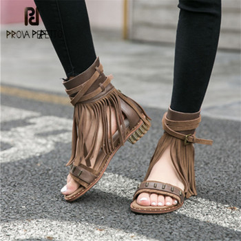 Prova Perfetto Fringed Summer Women Gladiator Sandals Casual Flat Sandalias Mujer Tassels Strap Sandal Ladies Beach Shoes Flats