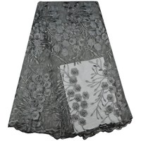 Gray Color African French Lace Fabric High Quality Guipure Lace Fabric With Beaded Tulle Lace Fabric