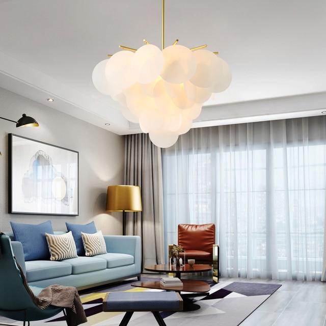 US $136 0 15% OFF|Romantic post modern pendant lamps model room round  acrylic sheet living room dining roomFlower shape pendant lights-in Pendant