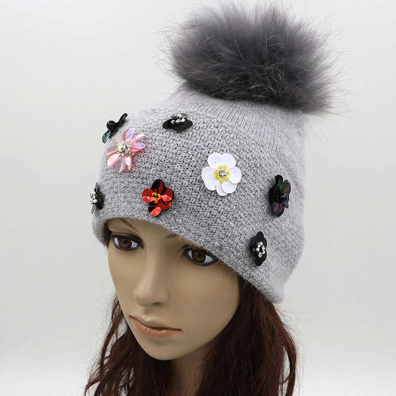 ad977ece5411 ... New Design Winter Womens Wool Hat With Big Real Fur Pom Pom Knit Beanie  Hats Soft ...