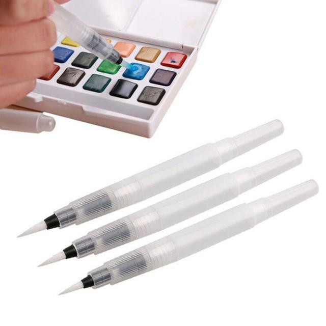 3 piezas de diferentes tamaños Bolígrafos recargables lápices de colores tinta pluma suave acuarela pincel pintura arte suministros
