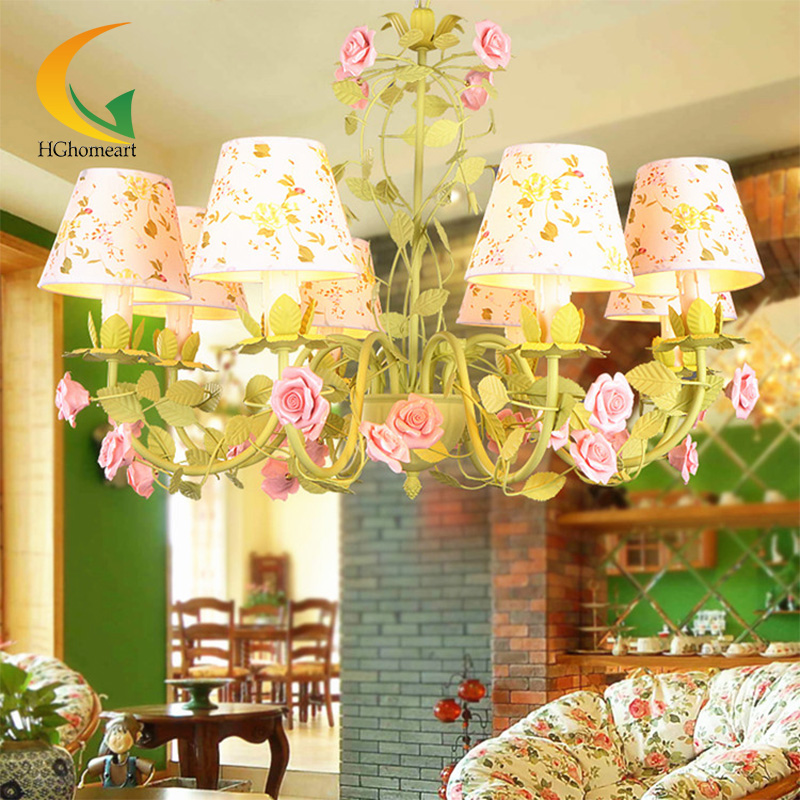 Princess Room Pastoral style led lamp Iron chandelier modern children's room chandelier modern lighting korean princess wrought lamp iron bedroom led lamp american pastoral style living room children chandelier
