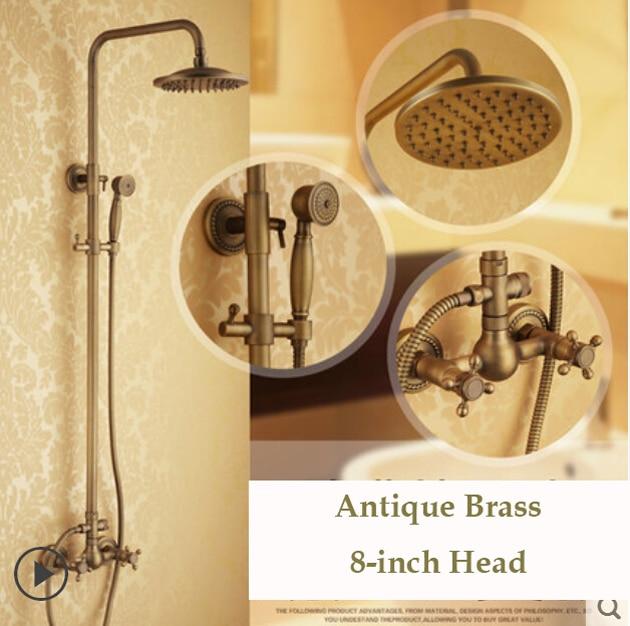 Dual Cross Handles Wall Mount Rainfall Shower  Faucet Sets 8 Brass Shower Head + Handheld Shower Antique Brass Finish antique brass swivel spout dual cross handles kitchen