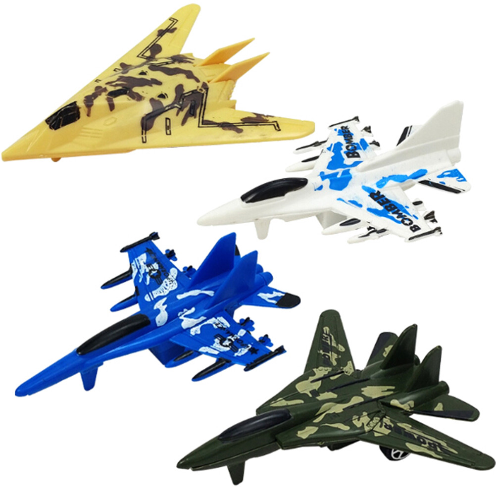 Plastic Puzzle Military Airplane Fighter Pull Back Plane Model Kids Gift Toys@@