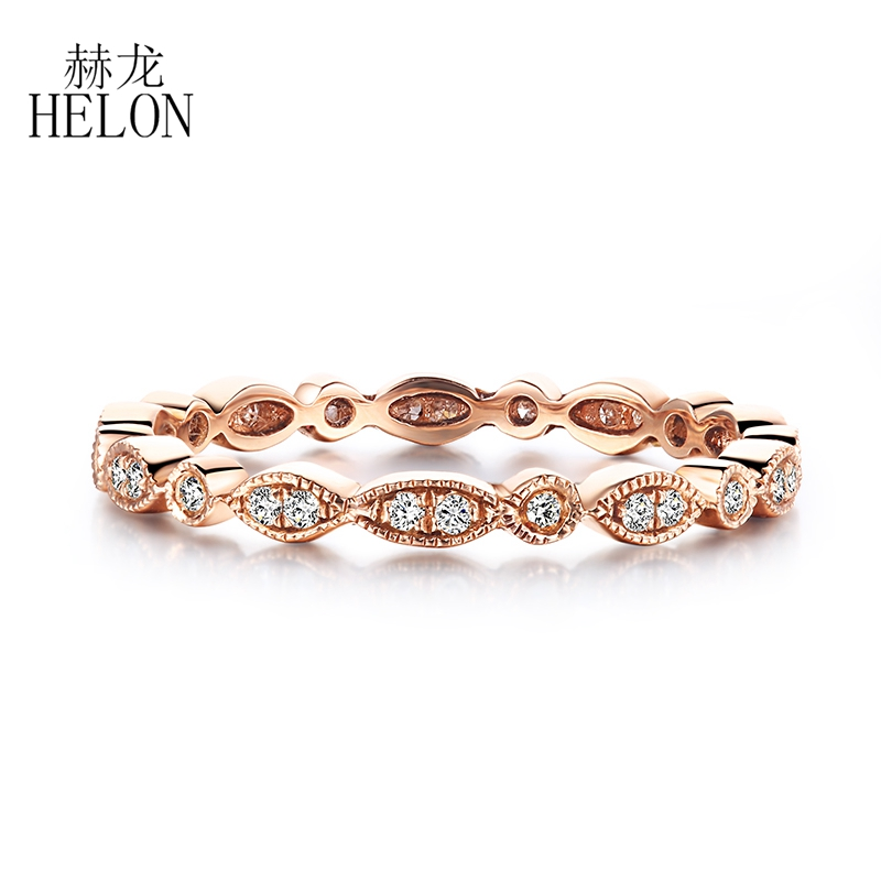 HELON Natural Diamonds Band Antique Art Deco Solid 10K Rose Gold Diamonds Engagement Wedding Ring Fine