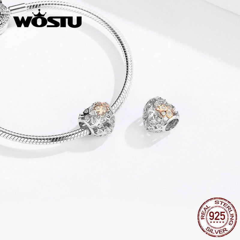 WOSTU Echt 925 Sterling Silber Openwork Herz Charme Fit Original Armband Anhänger Glück Perlen Hochzeit Modeschmuck FIC1248
