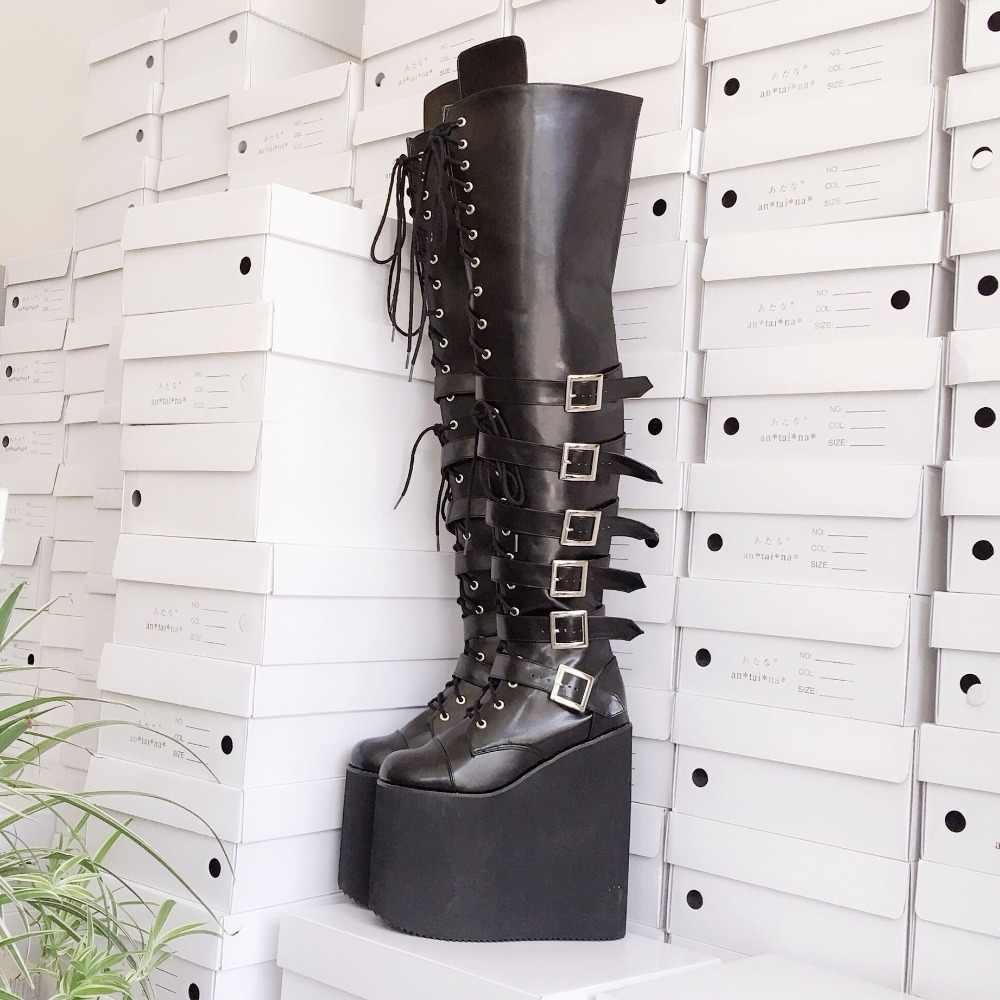 Cao 20 Cm Nền Tảng Phong Cách Nhật Bản Đen Over-The-Đầu Gối Lolita Đùi Giày Buộc Dây Công Chúa Đồng Nhất Mùa Đông giày