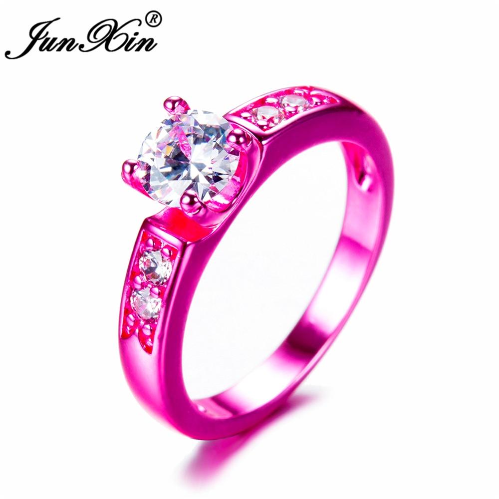 JUNXIN Bohemian Geometric Design Female Fire Opal Ring Fashion Pink ...