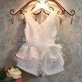 Осень младенцы комплект девочки одежда лето шотландка жилеты комплект костюм 2 ~ 7 лет дети одежда для девочка дети костюм