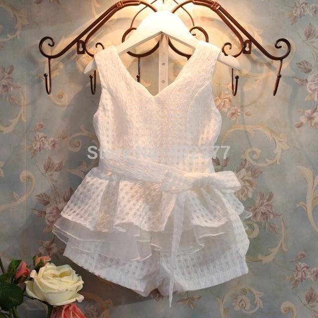 Nuevo 2015 otoño bebé Set girls summer clothes plaid chalecos juego determinado 2 ~ 7 años de edad los niños ropa para niños chándal