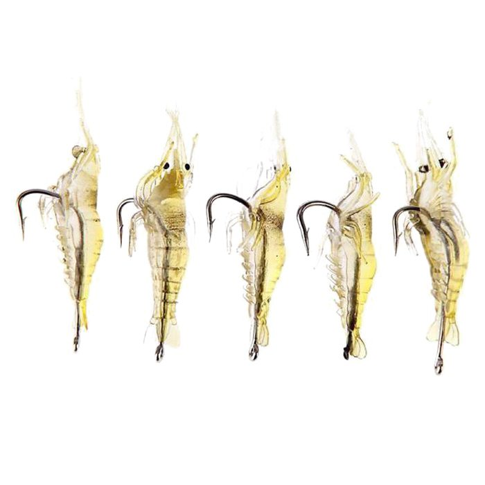 5 Pieces X Soft shrimp Simulation of soft shrimp Lure bait Fishing Lure Hook Soft Hook Appats Hook Fishing Lure