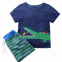 Baby Boys Sets Children Clothing Kids Tracksuits For Boy Clothing Animal Applique Unicorn Summer Tops Shorts