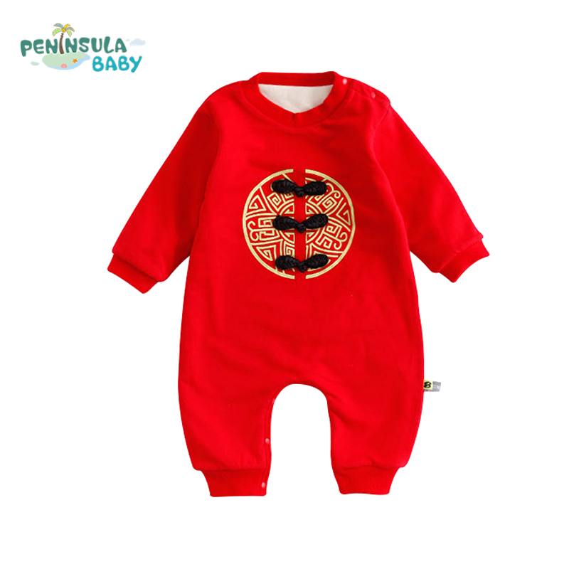 Chinese Style Winter Warm Baby Rompers Cotton Long Sleeve Girls Boys Clothing Christmas Birthday Red Infant Toddler Jumpsuit 2017 baby boys girls long sleeve winter rompers thicken warm baby winter clothes roupa infantil boys girls outfits cc456 cgr1