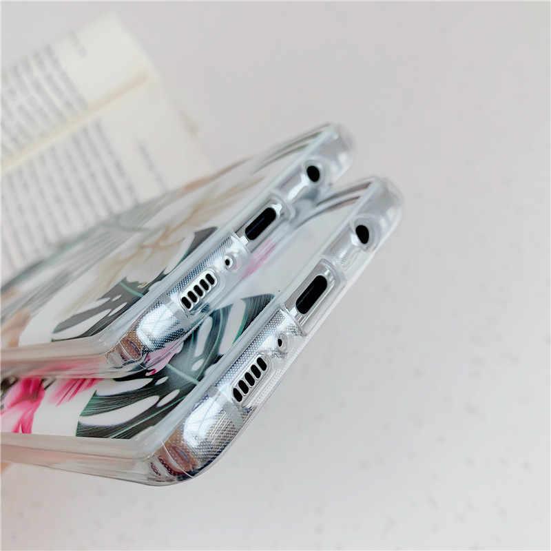 FLYKYLIN אמנות עלה פרח מקרה לסמסונג גלקסי S8 S9 S10 בתוספת S10e חזרה כיסוי על IMD סיליקון טלפון Coque עם מחזיק מעמד