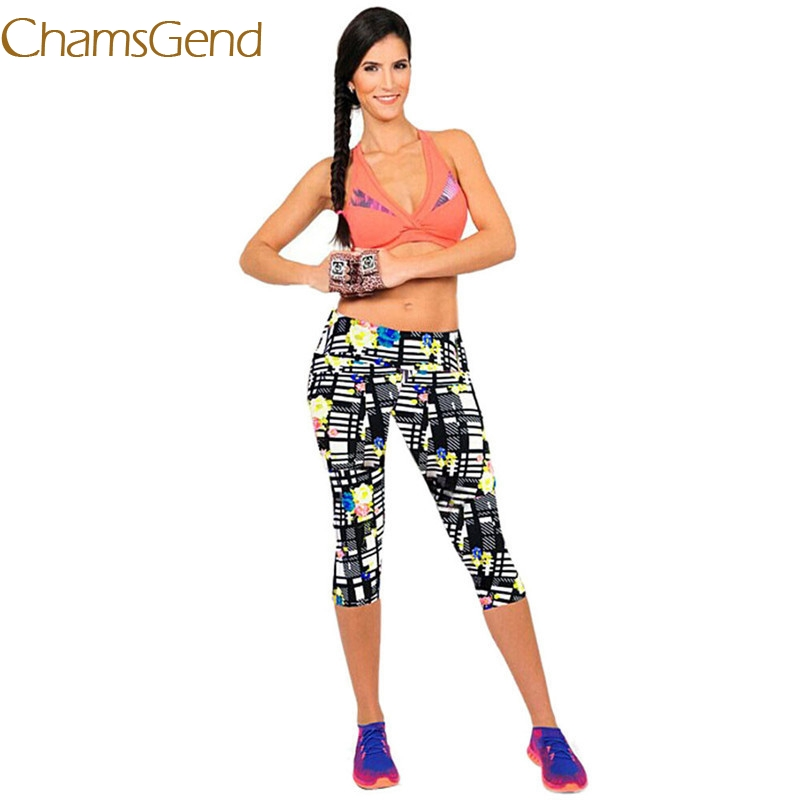 2018 leggings Workout women Pants Slim High Waist Fitness Stretch Cropped Leggings Printed #0608