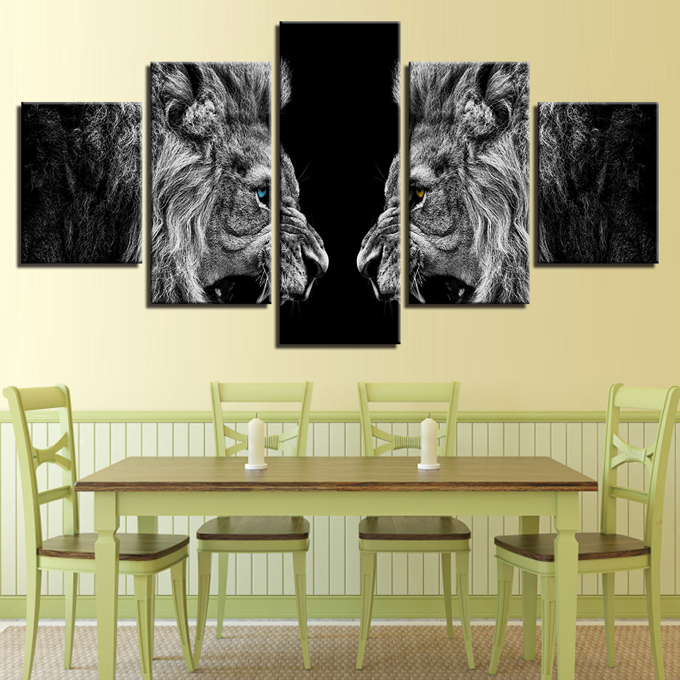 Home Decor HD Prints Canvas Posters Frameless 5 Pieces Roaring Lions ...