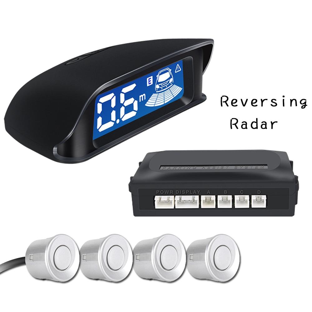 Radar de stationnement de recul de voiture 4 capteurs systèmes d'alarme de sécurité détecteur de moniteur de sauvegarde inverse Auto LCD numérique Parktronic
