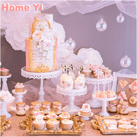 Glass Cake Stand Set 3 Pieces White Cupcake Display Tool For Wedding Cake Candy Plate Party