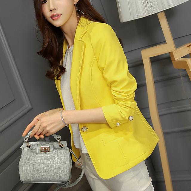 2015 mulheres Blazer versão coreana cultivando selvagem ( preto amarelo ) de mangas compridas mulheres Blazers e jaquetas JN006