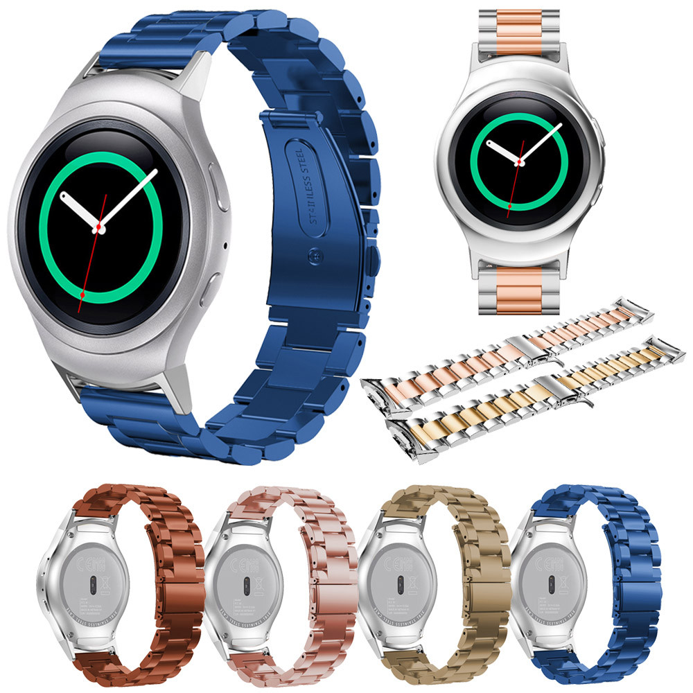 WatchBands Metal Stainless Steel Watche Band+Connector For Samsung Gear S2 RM-720 Replacement Watch Band With Tools Watch Straps stainless steel watchband with connector adaptor for samsung gear s2 rm 720 for samsung gear s2 sm r720 band smgs2m3lc