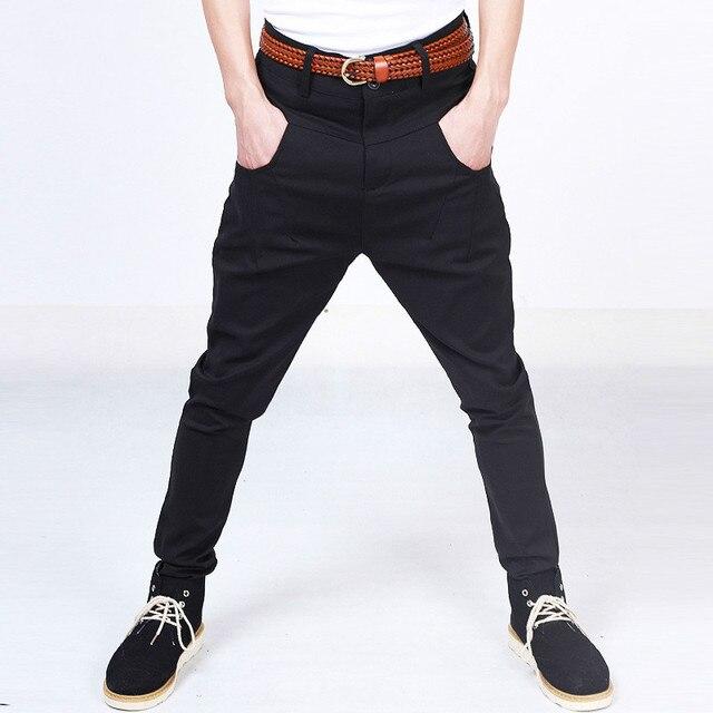 Hombres bragas ocasionales de invierno espesar pantalones de moda pantalones de traje de negocios los hombres de marca de alta calidad de hiphop negro harem pant 8015