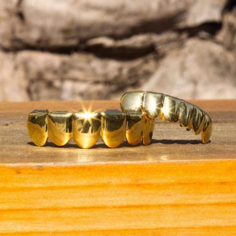 14k altın kaplama diş Hip Hop diş Grillz Caps üst ve alt ızgara seti vampir dişleri kapaklar cadılar bayramı partisi yüksek kaliteli