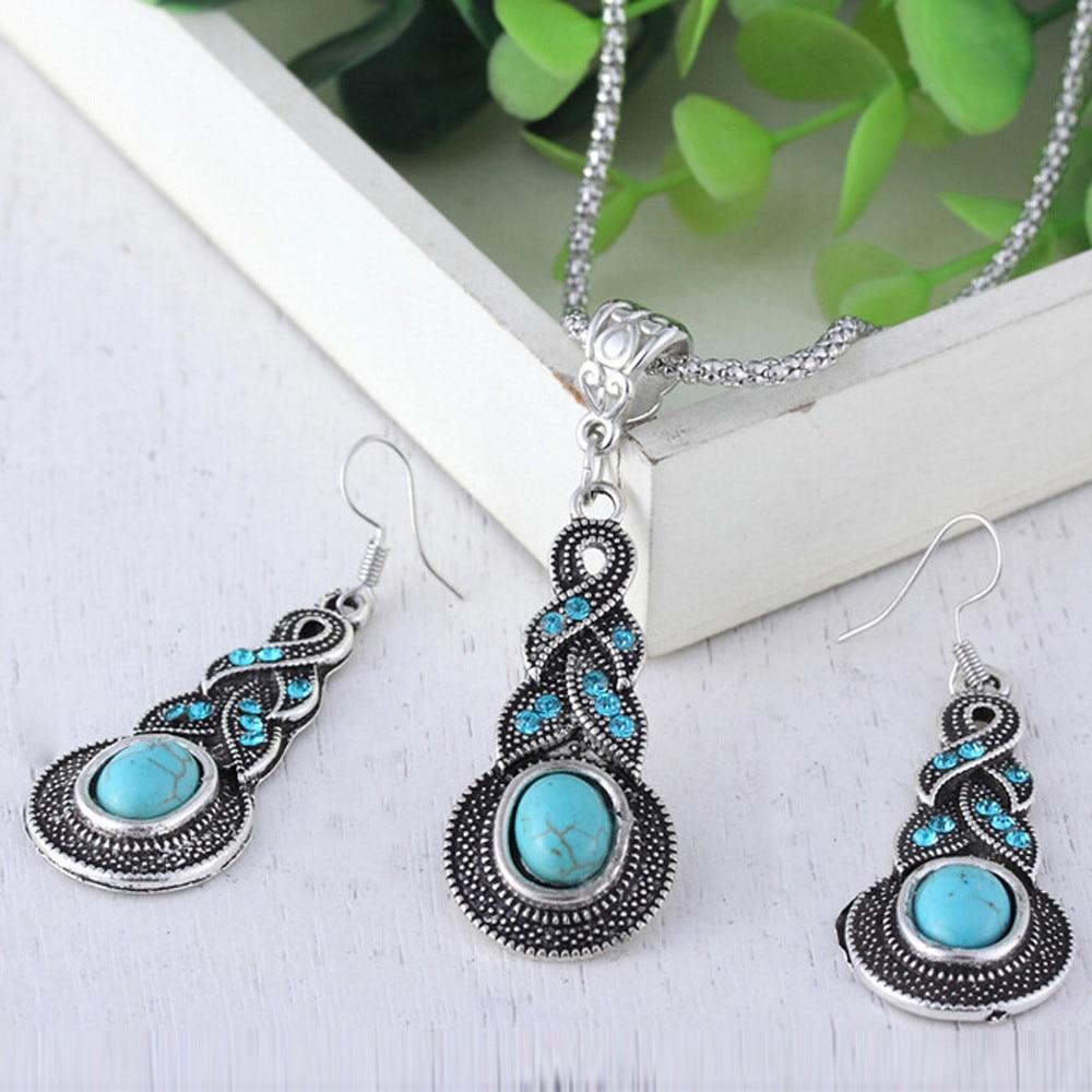 2018 Women Water Drops Green Turquoise Chunky Pendant Necklace Earrings Set Gir Women Gift Wedd Accessory Jewelry