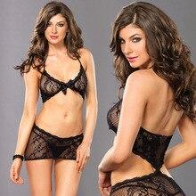 Sexy Lingerie See-Through Dress Bodysuit-Sets Fishnet Bodystocking Mesh Erotic HALTER-NECK
