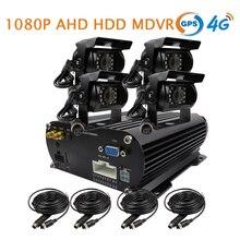 Free Shipping 4 Channel GPS 4G 1080P AHD 2TB HDD Hard Disk SD Car DVR MDVR