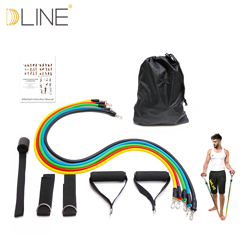 Fitness equipment Yoga Pilates Crossfit Resistance Band Latex 11pcs/set Exercise Pilates Tubes Pull Rope Expanders Training