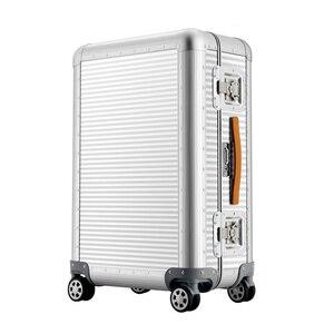 """Image 2 - Sacs de voyage à main en Aluminium, sac à roulettes, 20 """"26 pouces, 100% valise en Aluminium"""