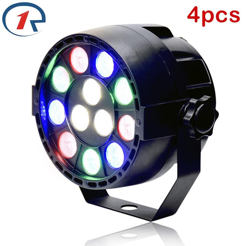 ZjRight 4pcs/lot 15W RGBW led Par lights DMX512 Sound control Concert birthday lamp dj ktv bar disco party wall ceiling lighting