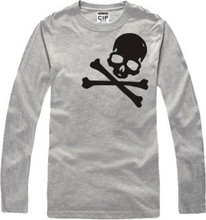 New Skull Men's long Sleeve T shirt Slim One Piece Cotton Top Casual Hooded Fashion