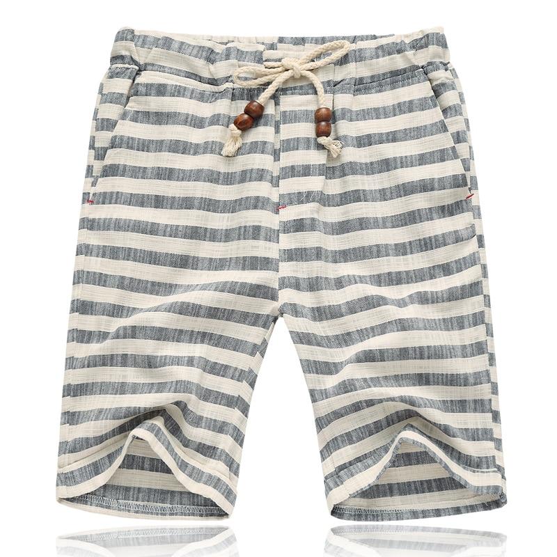 Striped shorts mens summer elastic waist linen cotton large size M-5XL striped loose casual beach