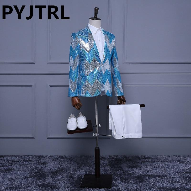 (Jacket + Pants) Luz Azul Branco Prata Lantejoulas Smoking Tarja Paillette Stage Show Padrinho de casamento Dos Homens Ternos Finos Lantejoula Homens jaqueta